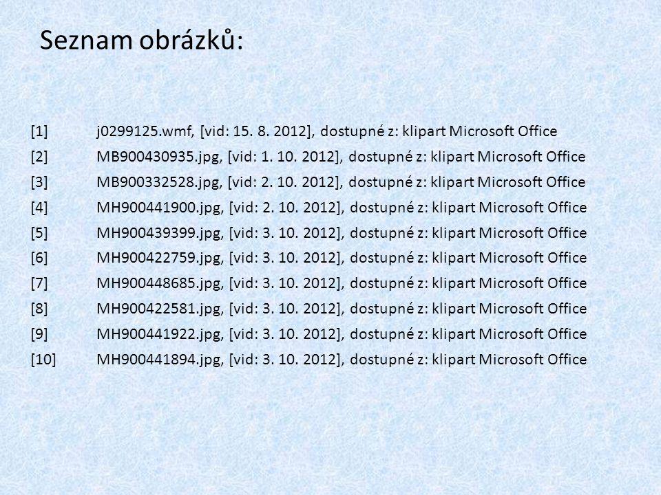 Seznam obrázků: [1] j0299125.wmf, [vid: 15. 8. 2012], dostupné z: klipart Microsoft Office.